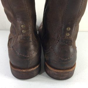 UGG Shoes - Ugg men's 8 Brown Leather Mid Boots Buckle Moto